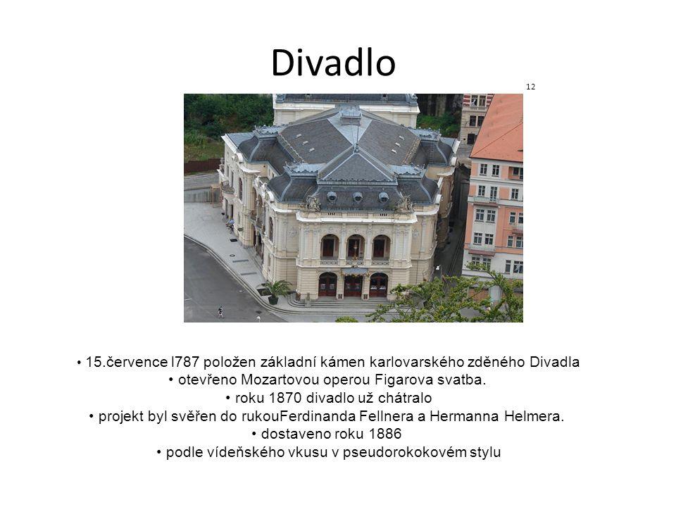 Divadlo 12 15.července l787 položen základní kámen karlovarského zděného Divadla otevřeno Mozartovou operou Figarova svatba. roku 1870 divadlo už chát