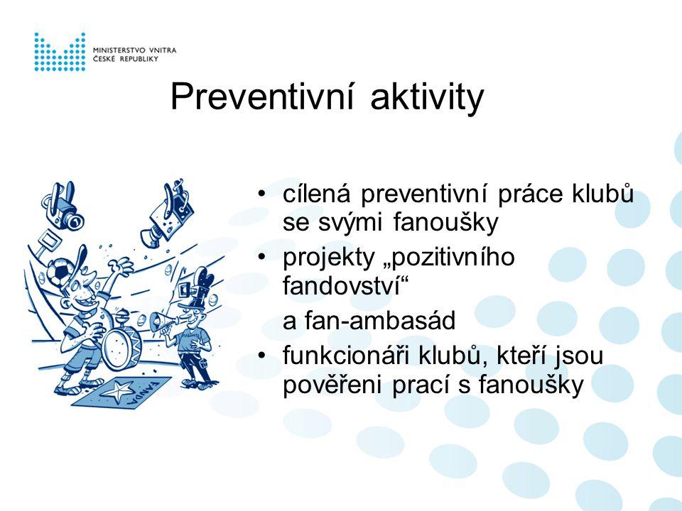 """Preventivní aktivity cílená preventivní práce klubů se svými fanoušky projekty """"pozitivního fandovství a fan-ambasád funkcionáři klubů, kteří jsou pověřeni prací s fanoušky"""