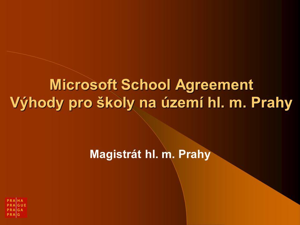 Důvody projektu Více jak 50% veškerého software používaného na školách je neúmyslně nelegální Platformy a produkty Microsoft patří k nejrozšířenějším a nejpoužívanějším Podpořit vzdělávání prostřednictvím nejnovějších technologií a produktů Zvýšit efektivnost výdajů na pořizování software využitím vhodného školského licenčního programu Usnadnit evidenci a administraci licencí na školách a školských zařízeních Poskytnou možnost efektivně využít prostředků z dotací SIPVZ na nákup evaluovaného software