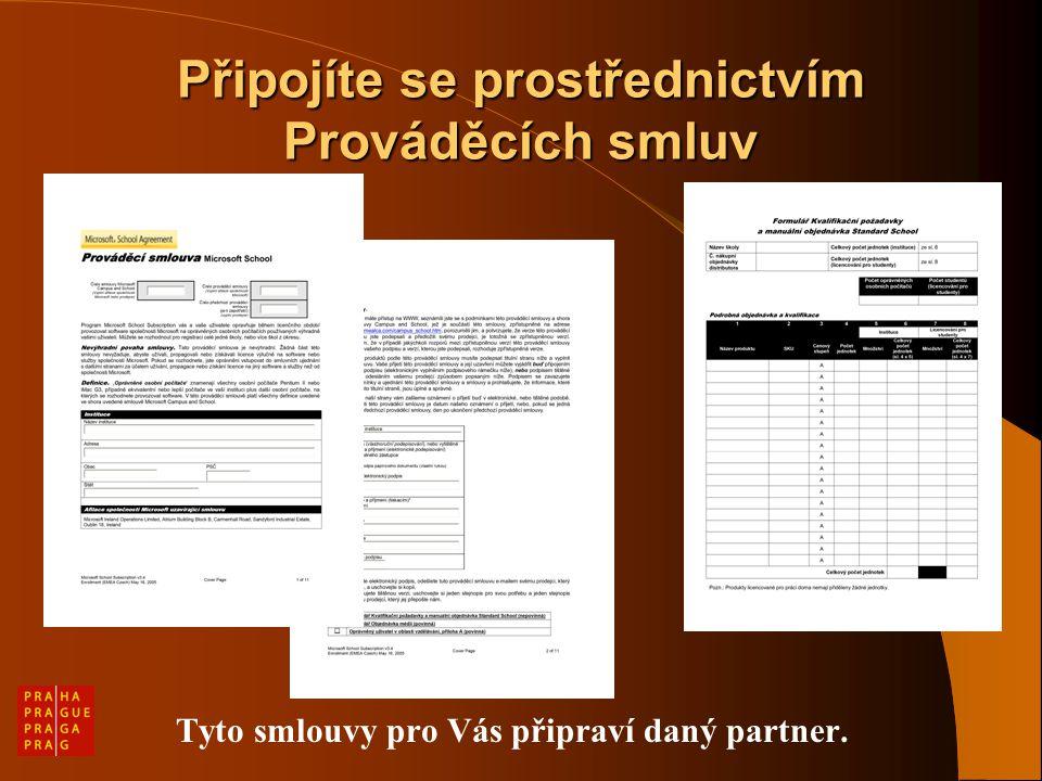 Připojíte se prostřednictvím Prováděcích smluv Tyto smlouvy pro Vás připraví daný partner.