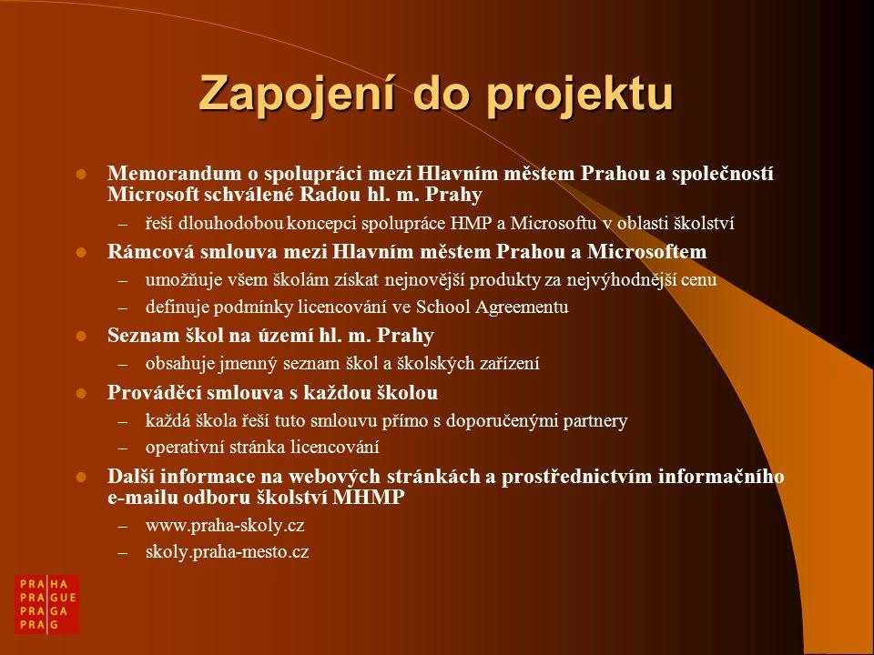 Zapojení do projektu Memorandum o spolupráci mezi Hlavním městem Prahou a společností Microsoft schválené Radou hl.