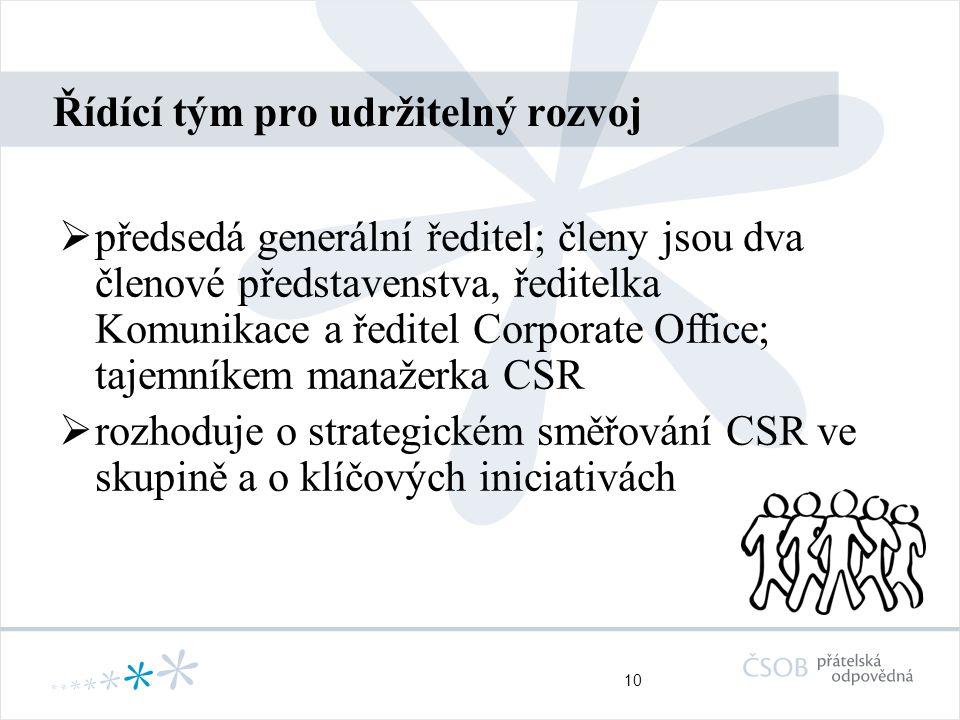 10 Řídící tým pro udržitelný rozvoj  předsedá generální ředitel; členy jsou dva členové představenstva, ředitelka Komunikace a ředitel Corporate Office; tajemníkem manažerka CSR  rozhoduje o strategickém směřování CSR ve skupině a o klíčových iniciativách