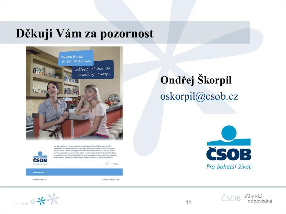 14 Děkuji Vám za pozornost Ondřej Škorpil oskorpil@csob.cz