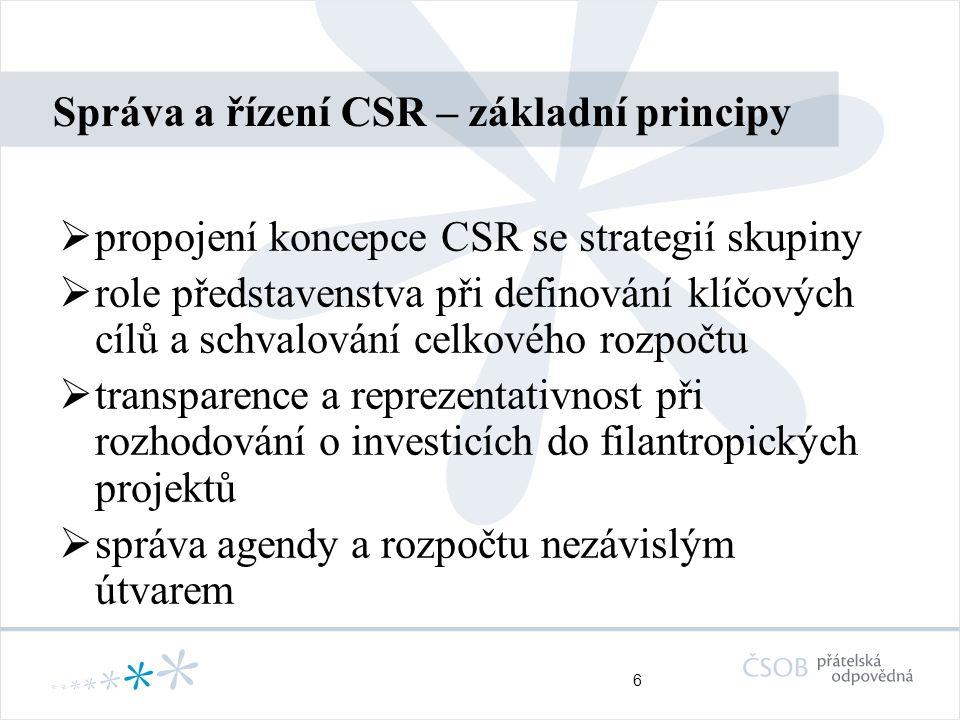 6 Správa a řízení CSR – základní principy  propojení koncepce CSR se strategií skupiny  role představenstva při definování klíčových cílů a schvalov