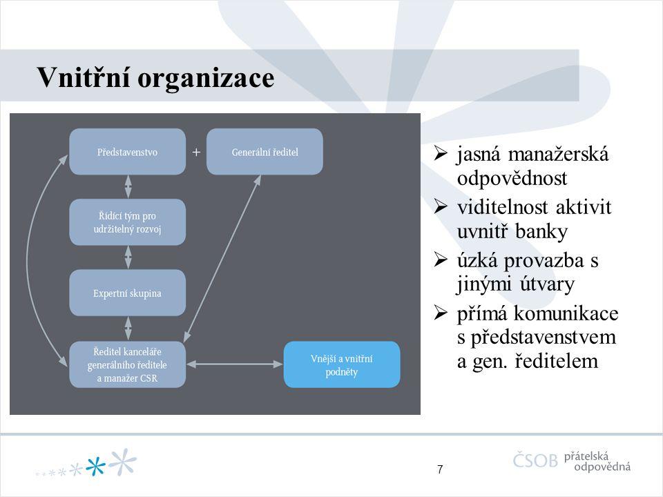 7 Vnitřní organizace  jasná manažerská odpovědnost  viditelnost aktivit uvnitř banky  úzká provazba s jinými útvary  přímá komunikace s představen