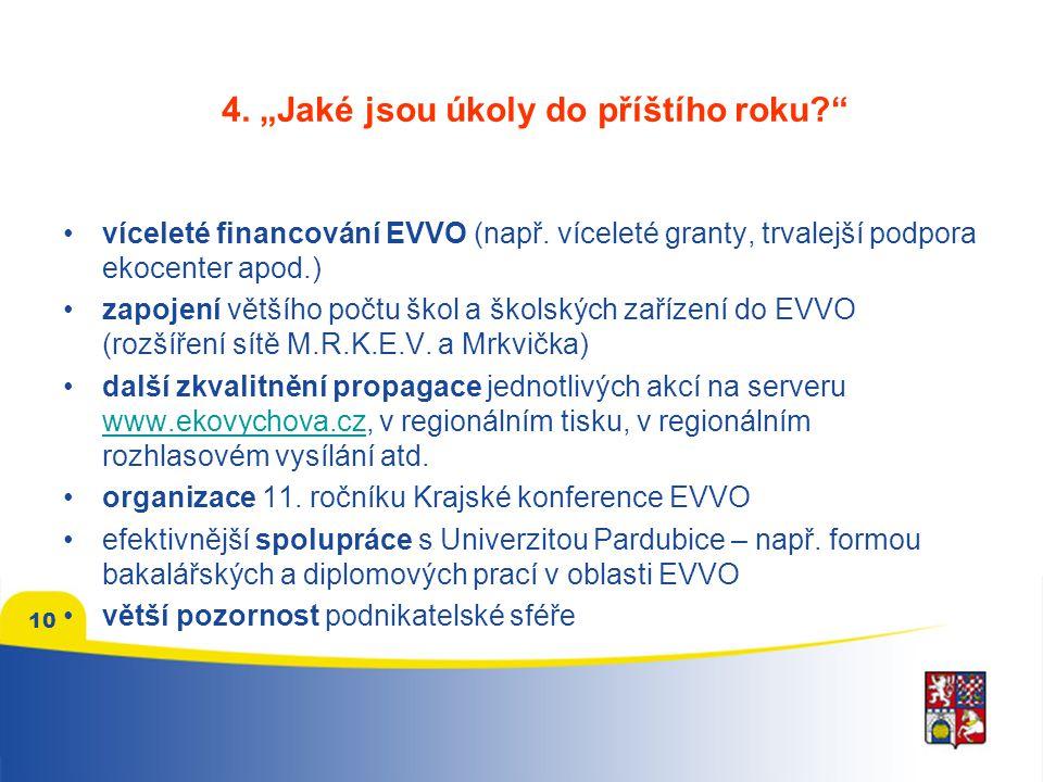 """4. """"Jaké jsou úkoly do příštího roku víceleté financování EVVO (např."""