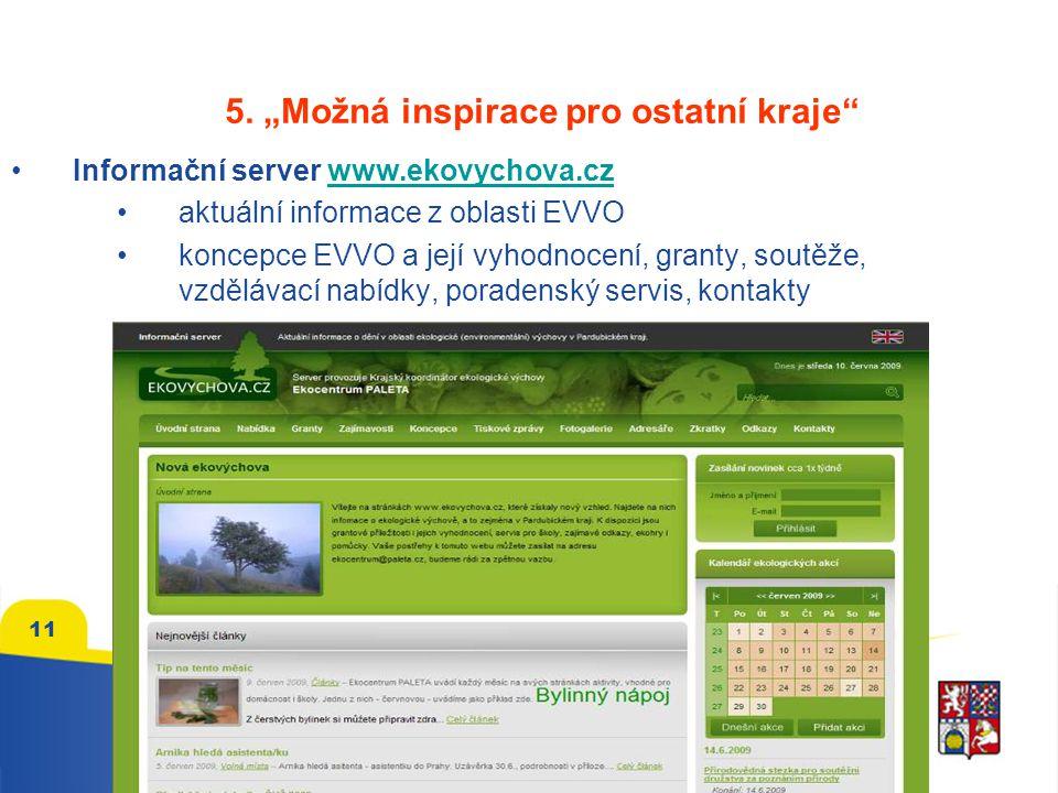 """5. """"Možná inspirace pro ostatní kraje"""" Informační server www.ekovychova.czwww.ekovychova.cz aktuální informace z oblasti EVVO koncepce EVVO a její vyh"""