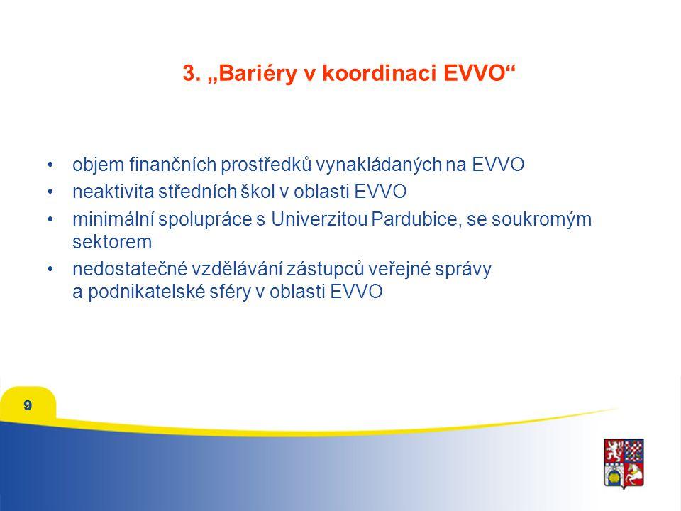 """3. """"Bariéry v koordinaci EVVO"""" objem finančních prostředků vynakládaných na EVVO neaktivita středních škol v oblasti EVVO minimální spolupráce s Unive"""
