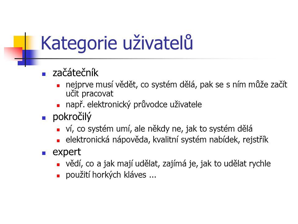 Kategorie uživatelů začátečník nejprve musí vědět, co systém dělá, pak se s ním může začít učit pracovat např.