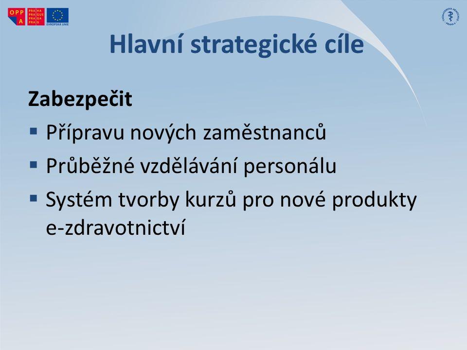 Hlavní strategické cíle Zabezpečit  Přípravu nových zaměstnanců  Průběžné vzdělávání personálu  Systém tvorby kurzů pro nové produkty e-zdravotnictví