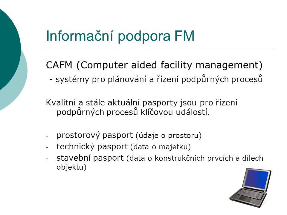 Informační podpora FM CAFM (Computer aided facility management) - systémy pro plánování a řízení podpůrných procesů Kvalitní a stále aktuální pasporty