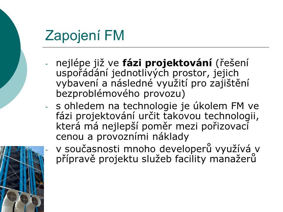 Zapojení FM - nejlépe již ve fázi projektování (řešení uspořádání jednotlivých prostor, jejich vybavení a následné využití pro zajištění bezproblémové