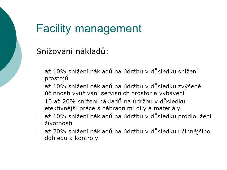Facility management Snižování nákladů: - až 10% snížení nákladů na údržbu v důsledku snížení prostojů - až 10% snížení nákladů na údržbu v důsledku zv