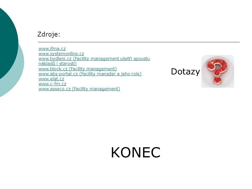 KONEC Zdroje: Dotazy www.ifma.cz www.systemonline.cz www.bydleni.czwww.bydleni.cz (Facility management ušetří spoustu nákladů i starostí) www.block.cz