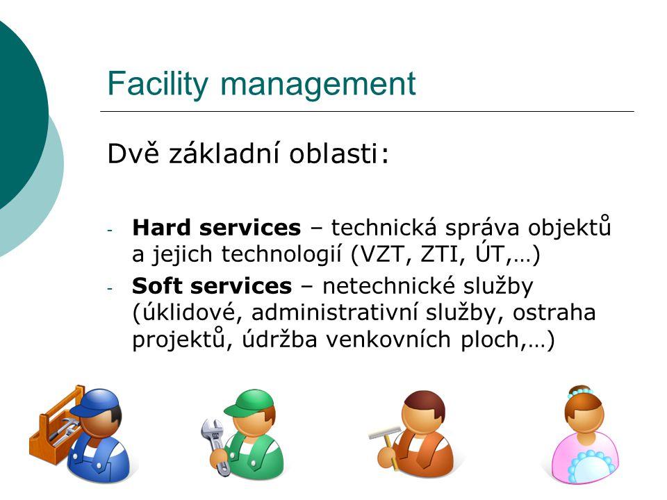 Facility management Dvě základní oblasti: - Hard services – technická správa objektů a jejich technologií (VZT, ZTI, ÚT,…) - Soft services – netechnic