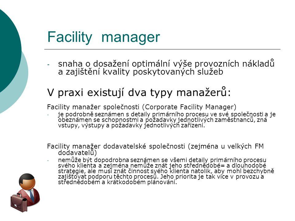 Facility manager - snaha o dosažení optimální výše provozních nákladů a zajištění kvality poskytovaných služeb V praxi existují dva typy manažerů: Fac