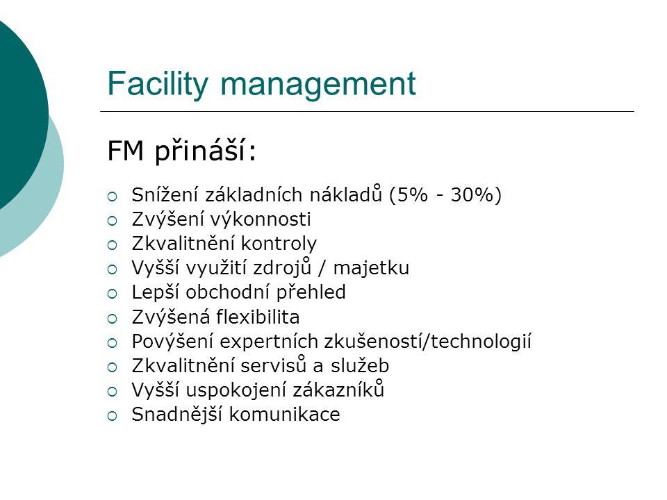 Facility management FM přináší:  Snížení základních nákladů (5% - 30%)  Zvýšení výkonnosti  Zkvalitnění kontroly  Vyšší využití zdrojů / majetku 