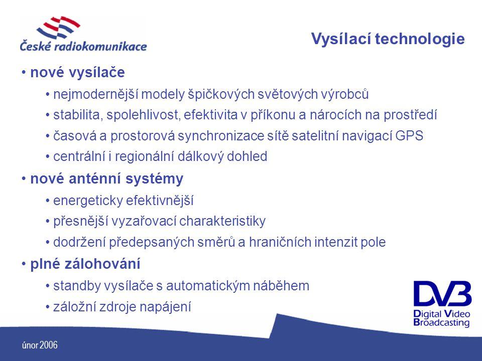 únor 2006 Vysílací technologie nové vysílače nejmodernější modely špičkových světových výrobců stabilita, spolehlivost, efektivita v příkonu a nárocíc