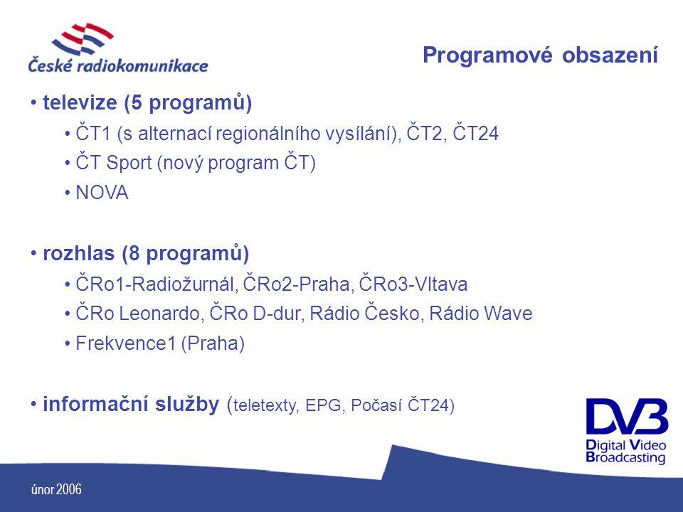 únor 2006 Programové obsazení televize (5 programů) ČT1 (s alternací regionálního vysílání), ČT2, ČT24 ČT Sport (nový program ČT) NOVA rozhlas (8 prog