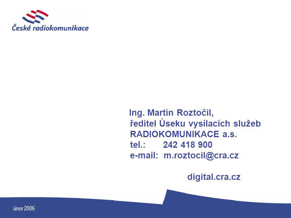 únor 2006 Ing. Martin Roztočil, ředitel Úseku vysílacích služeb RADIOKOMUNIKACE a.s. tel.: 242 418 900 e-mail: m.roztocil@cra.cz digital.cra.cz