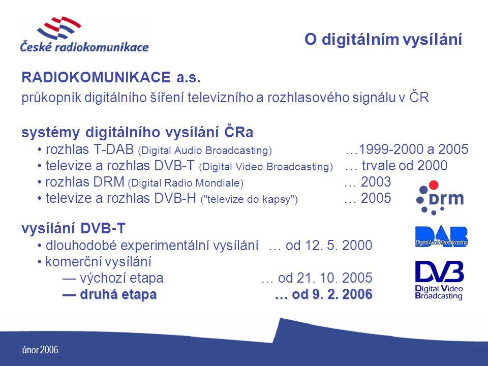 únor 2006 O digitálním vysílání RADIOKOMUNIKACE a.s. průkopník digitálního šíření televizního a rozhlasového signálu v ČR systémy digitálního vysílání