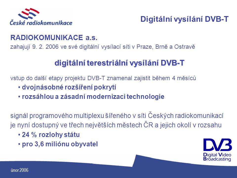 únor 2006 RADIOKOMUNIKACE a.s. zahajují 9. 2. 2006 ve své digitální vysílací síti v Praze, Brně a Ostravě digitální terestriální vysílání DVB-T vstup