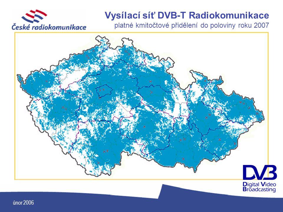 únor 2006 Vysílací síť DVB-T Radiokomunikace platné kmitočtové přidělení do poloviny roku 2007
