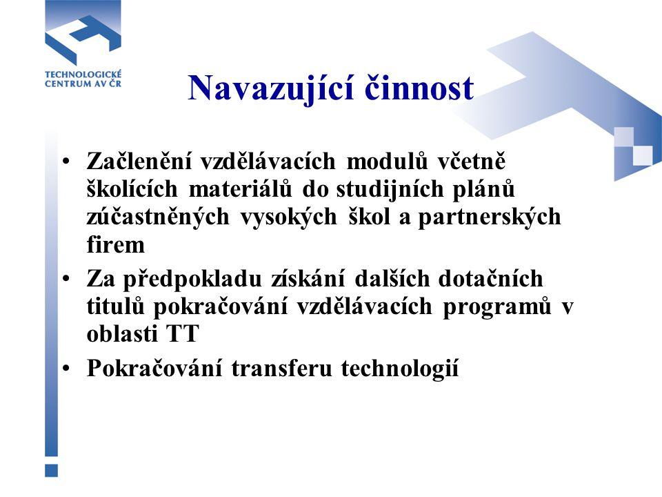 Výstupy a výsledky projektu CeTT Plánovaná hodnota Současný stav PODPOŘENÉ OSOBY 62065 ORGANIZACE1505 PRODUKTY11316