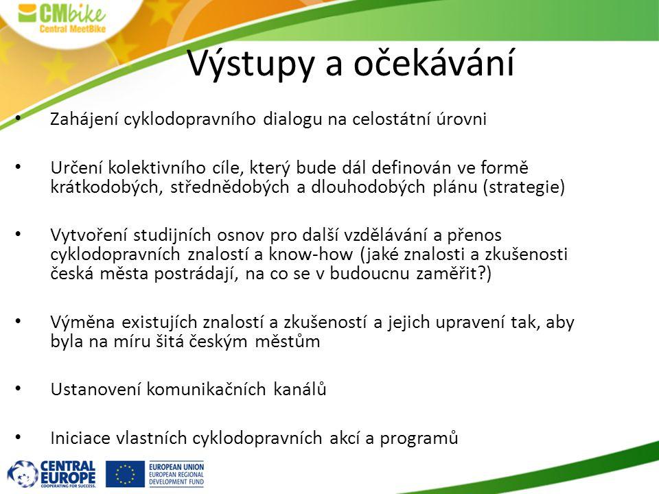 Výstupy a očekávání Zahájení cyklodopravního dialogu na celostátní úrovni Určení kolektivního cíle, který bude dál definován ve formě krátkodobých, střednědobých a dlouhodobých plánu (strategie) Vytvoření studijních osnov pro další vzdělávání a přenos cyklodopravních znalostí a know-how (jaké znalosti a zkušenosti česká města postrádají, na co se v budoucnu zaměřit ) Výměna existujích znalostí a zkušeností a jejich upravení tak, aby byla na míru šitá českým městům Ustanovení komunikačních kanálů Iniciace vlastních cyklodopravních akcí a programů