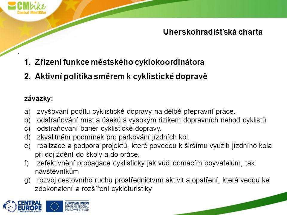 Uherskohradišťská charta. 1.Zřízení funkce městského cyklokoordinátora 2.Aktivní politika směrem k cyklistické dopravě závazky: a) zvyšování podílu cy
