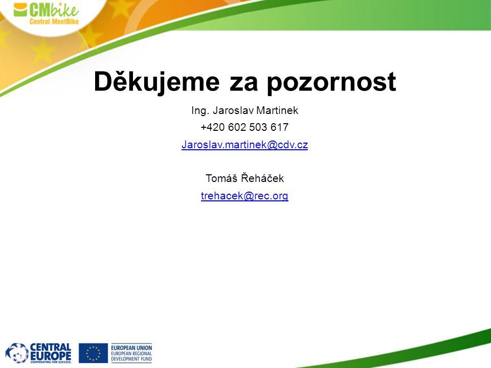 Děkujeme za pozornost Ing. Jaroslav Martinek +420 602 503 617 Jaroslav.martinek@cdv.cz Tomáš Řeháček trehacek@rec.org