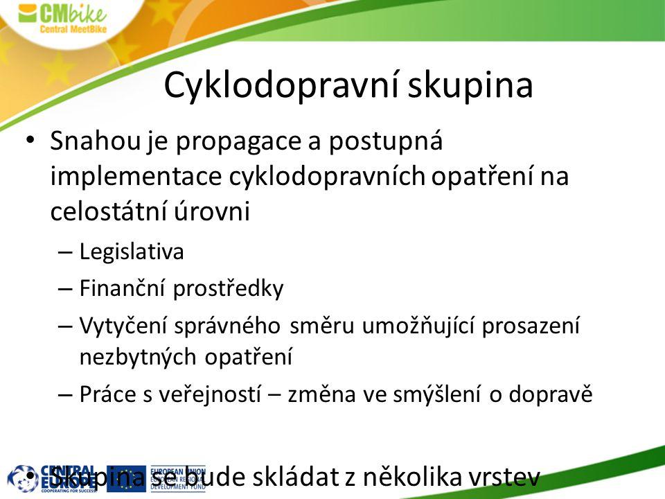 Cyklodopravní skupina Snahou je propagace a postupná implementace cyklodopravních opatření na celostátní úrovni – Legislativa – Finanční prostředky –
