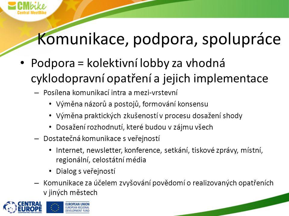 Komunikace, podpora, spolupráce Podpora = kolektivní lobby za vhodná cyklodopravní opatření a jejich implementace – Posílena komunikací intra a mezi-v