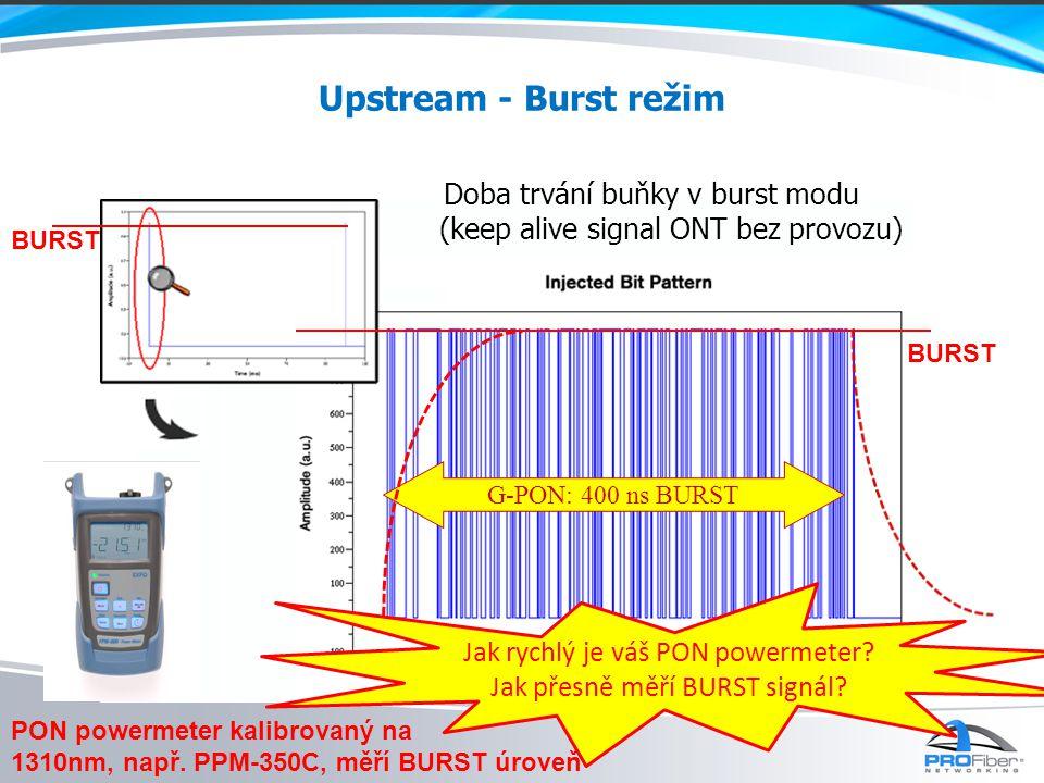 Upstream - Burst režim Doba trvání buňky v burst modu (keep alive signal ONT bez provozu) G-PON: 400 ns BURST BURST Jak rychlý je váš PON powermeter.
