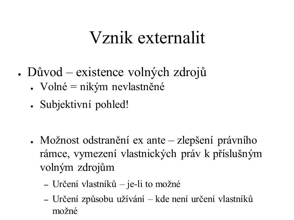 Vznik externalit ● Důvod – existence volných zdrojů ● Volné = nikým nevlastněné ● Subjektivní pohled! ● Možnost odstranění ex ante – zlepšení právního