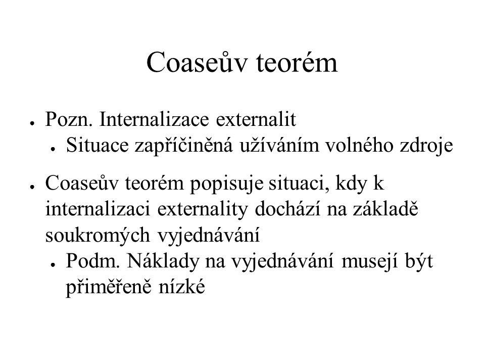● Pozn. Internalizace externalit ● Situace zapříčiněná užíváním volného zdroje ● Coaseův teorém popisuje situaci, kdy k internalizaci externality doch