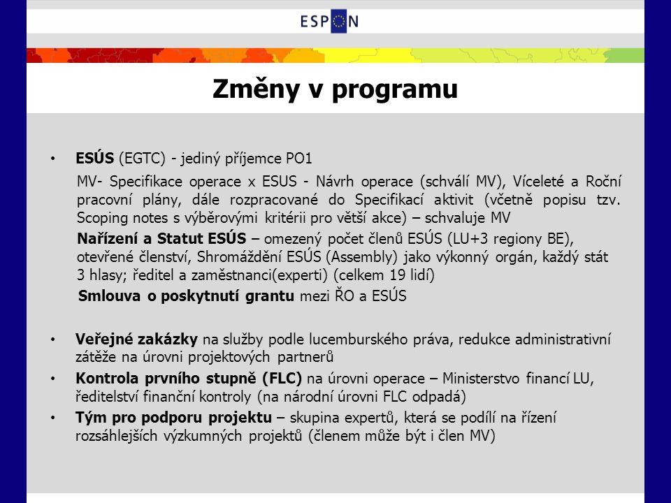 Změny v programu ESÚS (EGTC) - jediný příjemce PO1 MV- Specifikace operace x ESUS - Návrh operace (schválí MV), Víceleté a Roční pracovní plány, dále