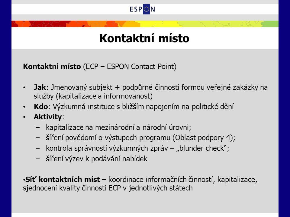 Kontaktní místo Kontaktní místo (ECP – ESPON Contact Point) Jak: Jmenovaný subjekt + podpůrné činnosti formou veřejné zakázky na služby (kapitalizace