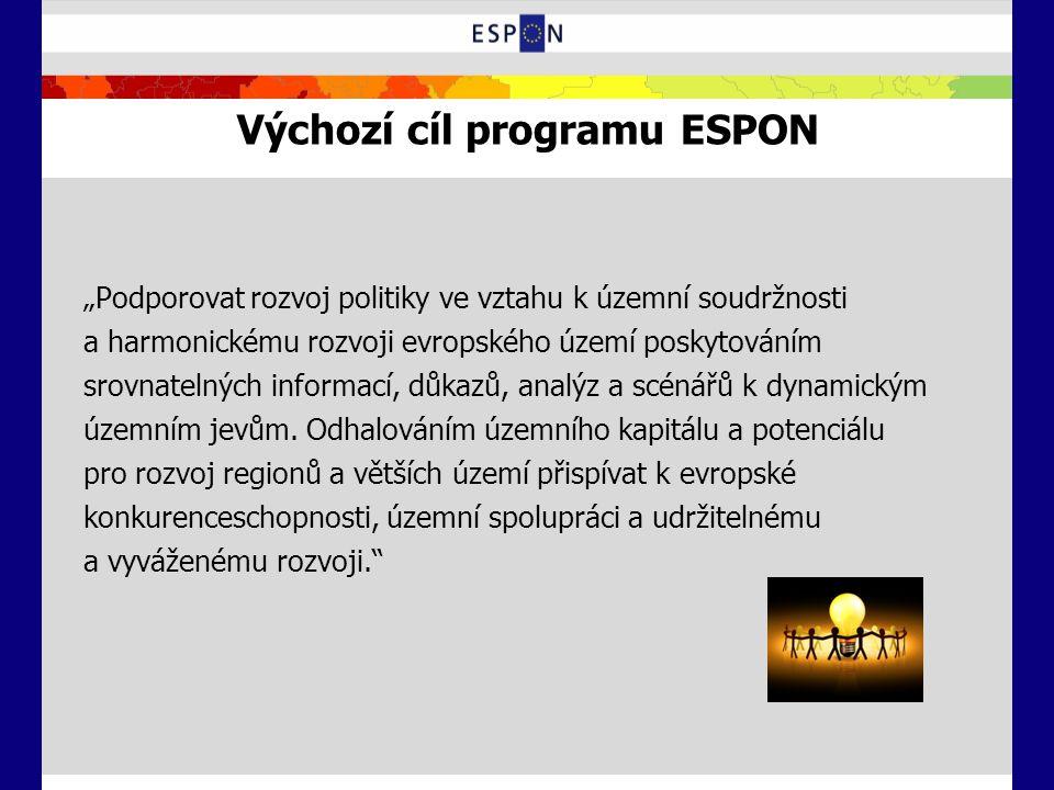 """Výchozí cíl programu ESPON """"Podporovat rozvoj politiky ve vztahu k územní soudržnosti a harmonickému rozvoji evropského území poskytováním srovnatelný"""