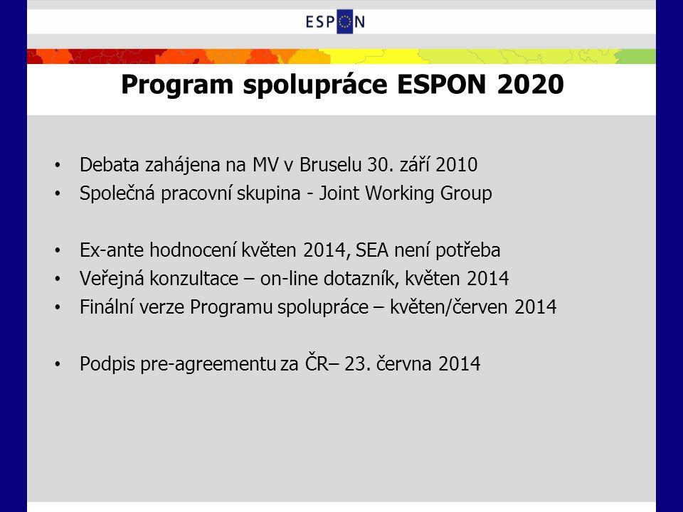 Program spolupráce ESPON 2020 Debata zahájena na MV v Bruselu 30. září 2010 Společná pracovní skupina - Joint Working Group Ex-ante hodnocení květen 2