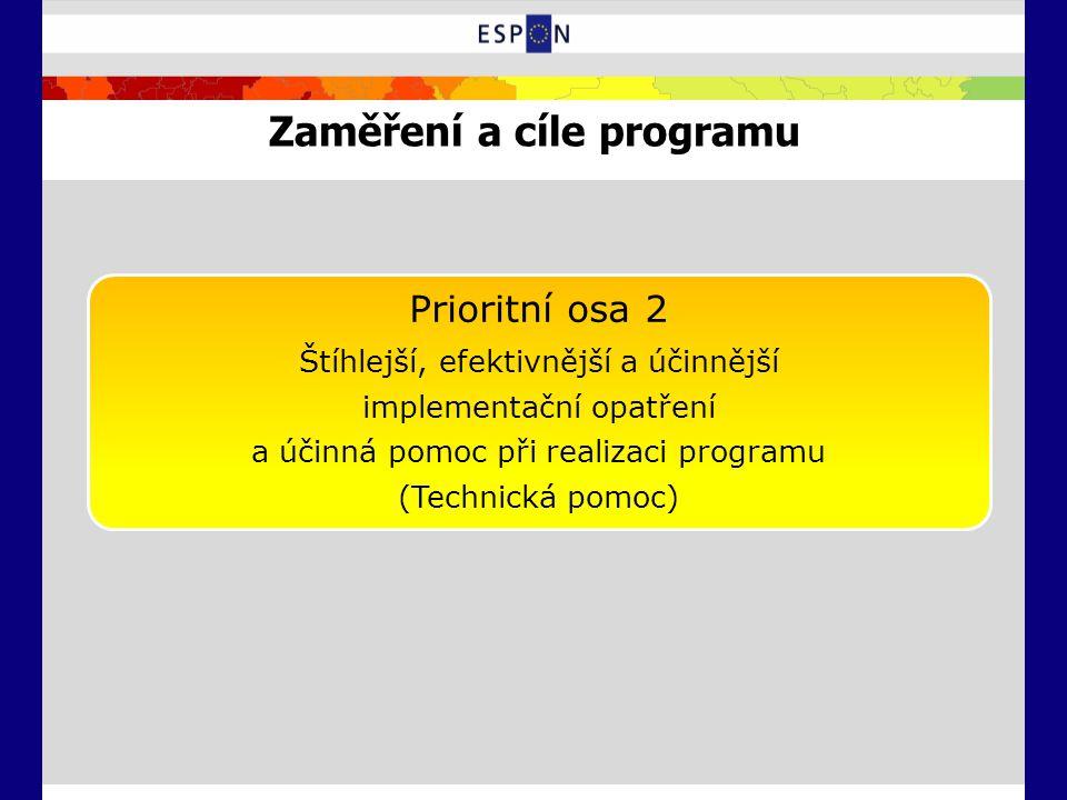 Zaměření a cíle programu Prioritní osa 2 Štíhlejší, efektivnější a účinnější implementační opatření a účinná pomoc při realizaci programu (Technická p