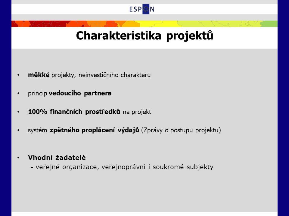 Charakteristika projektů měkké projekty, neinvestičního charakteru princip vedoucího partnera 100% finančních prostředků na projekt systém zpětného pr