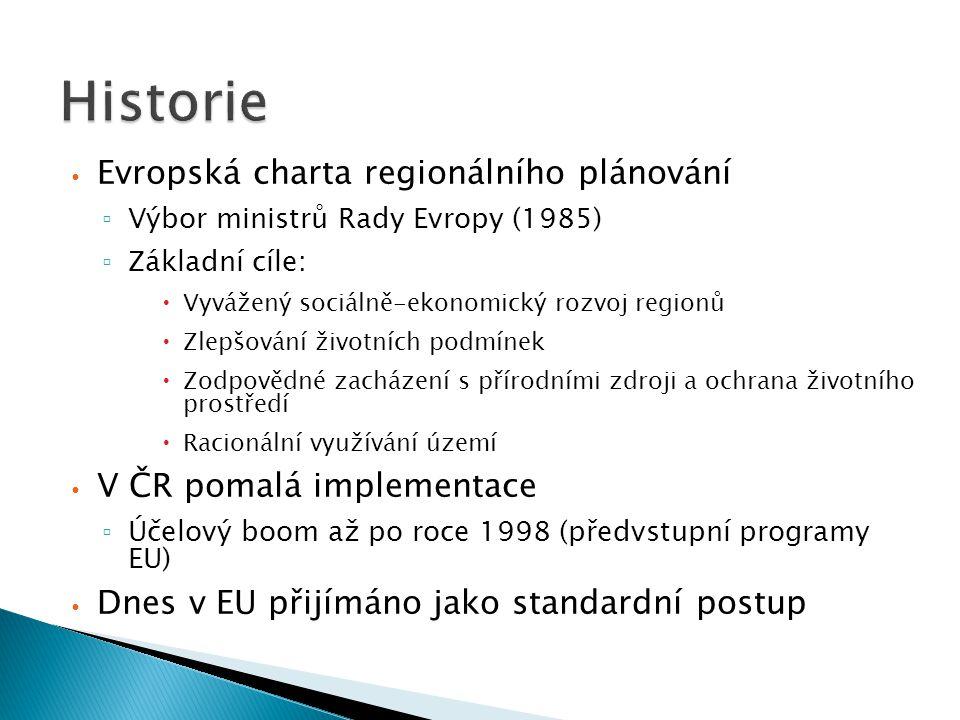 Evropská charta regionálního plánování ▫ Výbor ministrů Rady Evropy (1985) ▫ Základní cíle:  Vyvážený sociálně-ekonomický rozvoj regionů  Zlepšování životních podmínek  Zodpovědné zacházení s přírodními zdroji a ochrana životního prostředí  Racionální využívání území V ČR pomalá implementace ▫ Účelový boom až po roce 1998 (předvstupní programy EU) Dnes v EU přijímáno jako standardní postup