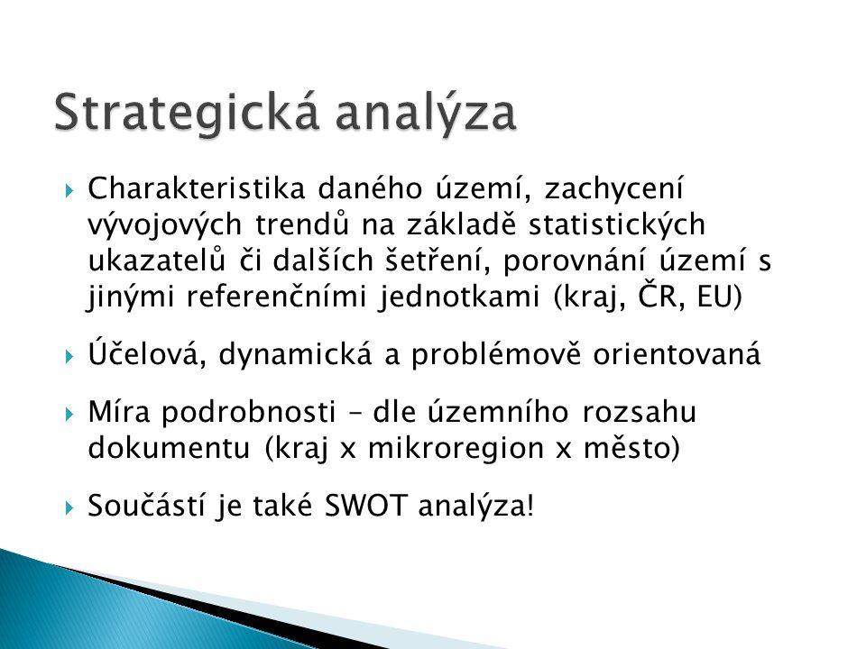  Charakteristika daného území, zachycení vývojových trendů na základě statistických ukazatelů či dalších šetření, porovnání území s jinými referenční