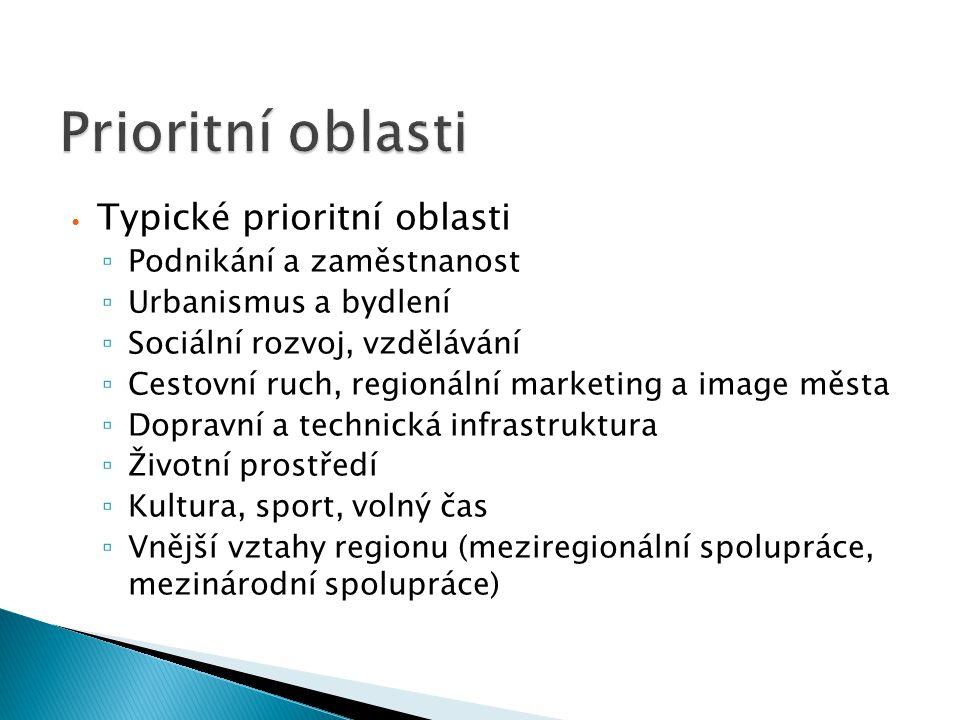 Typické prioritní oblasti ▫ Podnikání a zaměstnanost ▫ Urbanismus a bydlení ▫ Sociální rozvoj, vzdělávání ▫ Cestovní ruch, regionální marketing a imag