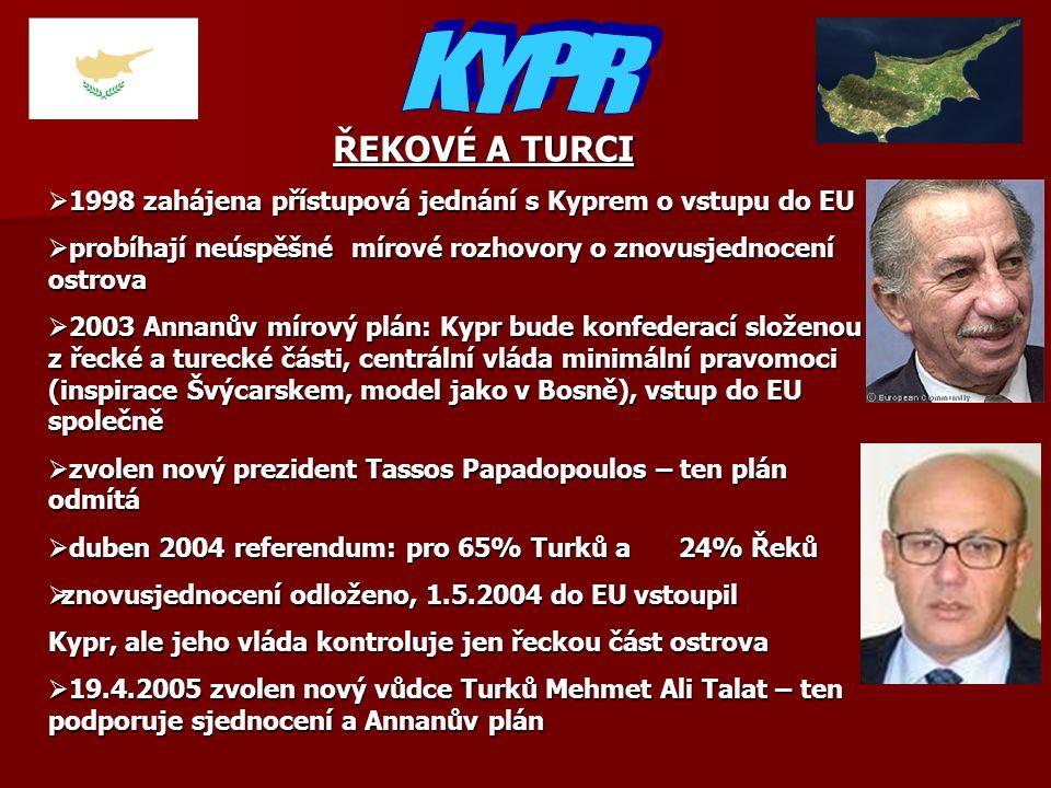 ŘEKOVÉ A TURCI  1998 zahájena přístupová jednání s Kyprem o vstupu do EU  probíhají neúspěšné mírové rozhovory o znovusjednocení ostrova  2003 Annanův mírový plán: Kypr bude konfederací složenou z řecké a turecké části, centrální vláda minimální pravomoci (inspirace Švýcarskem, model jako v Bosně), vstup do EU společně  zvolen nový prezident Tassos Papadopoulos – ten plán odmítá  duben 2004 referendum: pro 65% Turků a24% Řeků  znovusjednocení odloženo, 1.5.2004 do EU vstoupil Kypr, ale jeho vláda kontroluje jen řeckou část ostrova  19.4.2005 zvolen nový vůdce Turků Mehmet Ali Talat – ten podporuje sjednocení a Annanův plán