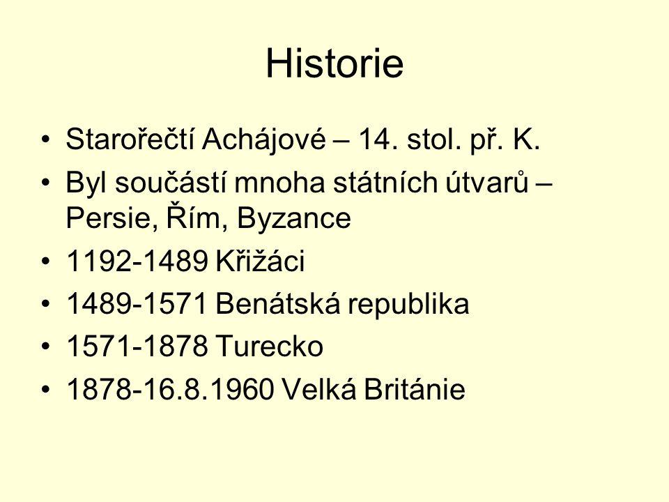 Historie Starořečtí Achájové – 14. stol. př. K. Byl součástí mnoha státních útvarů – Persie, Řím, Byzance 1192-1489 Křižáci 1489-1571 Benátská republi