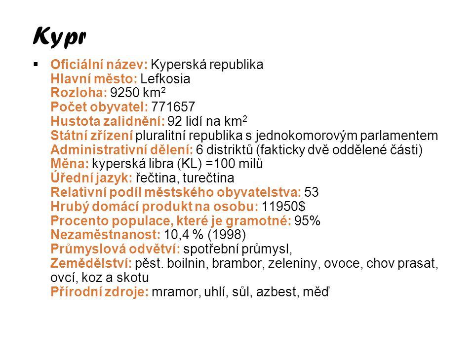  Oficiální název: Kyperská republika Hlavní město: Lefkosia Rozloha: 9250 km 2 Počet obyvatel: 771657 Hustota zalidnění: 92 lidí na km 2 Státní zříze