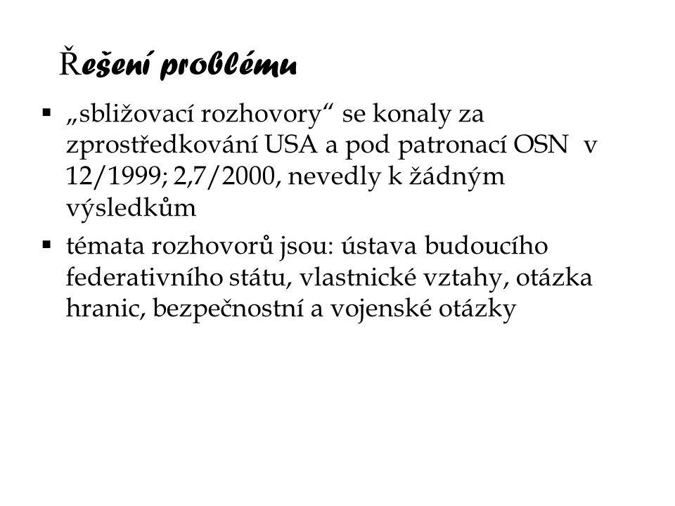"""Ř ešení problému  """"sbližovací rozhovory"""" se konaly za zprostředkování USA a pod patronací OSN v 12/1999; 2,7/2000, nevedly k žádným výsledkům  témat"""