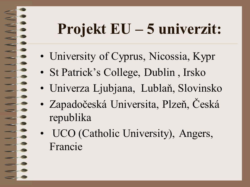 Projekt EU – 5 univerzit: University of Cyprus, Nicossia, Kypr St Patrick's College, Dublin, Irsko Univerza Ljubjana, Lublaň, Slovinsko Zapadočeská Un